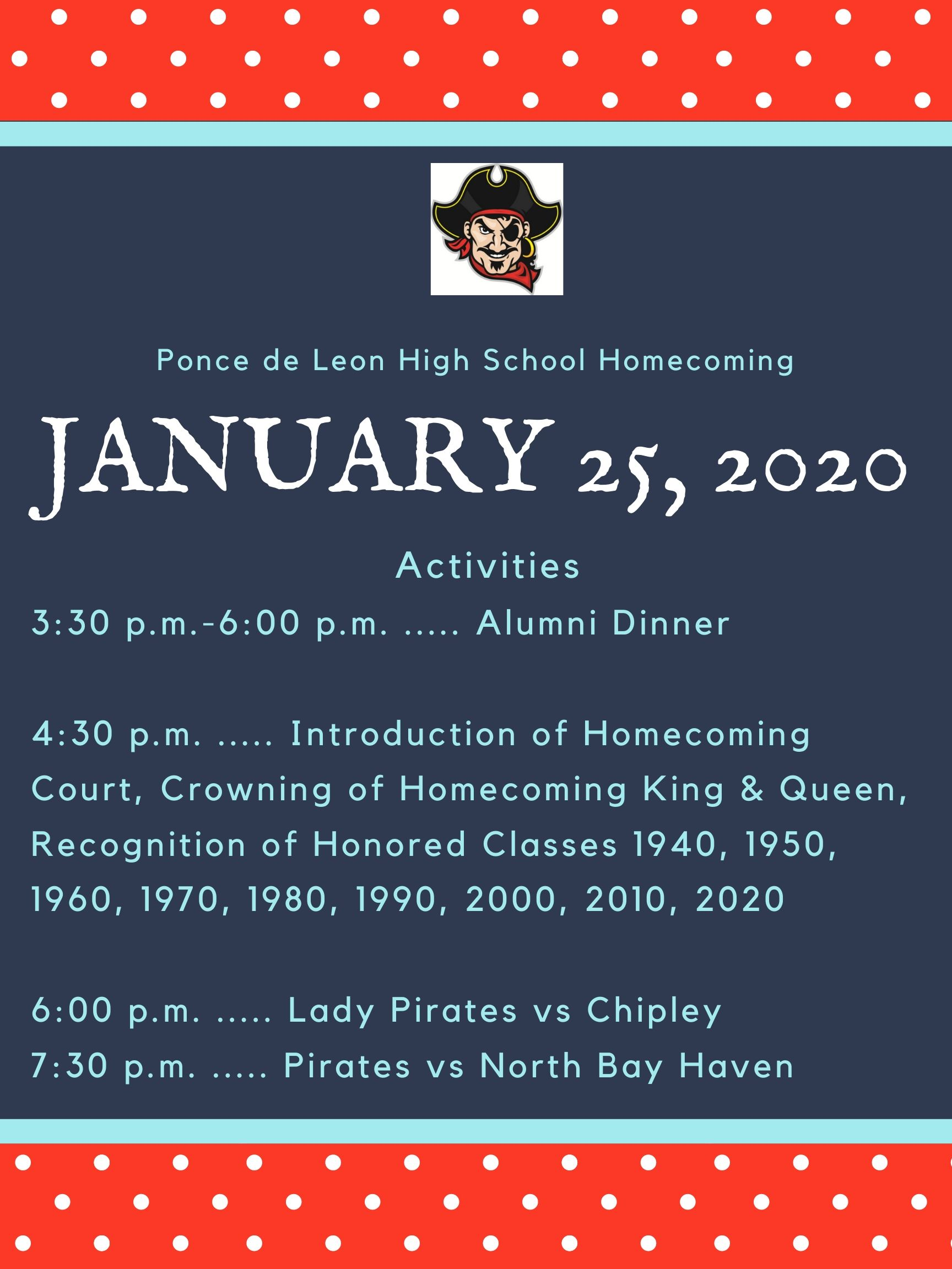 Homecoming Schedule for Saturday Activities